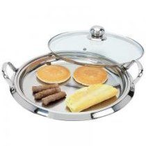 Chef's Secret by Maxam 5-Ply Surgical Stainless Steel Round Griddle with See-Thru Glass Lid