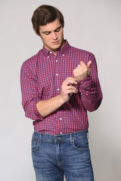 South Moon Under Long Sleeve Red Check Button Down Shirt