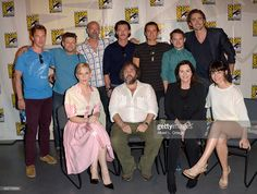 Actors Benedict Cumberbatch, Andy Serkis, Graham McTavish, Luke Evans, Orlando Bloom, Elijah Wood, and Lee Pace; (bottom row) Actress Cate Blanchett, director Peter Jackson, screenwriter Philippa Boyens, and actress Evangeline Lilly attend the Legendary Pictures preview and panel during Comic-Con International 2014 at San Diego Convention Center on July 26, 2014 in San Diego, California.