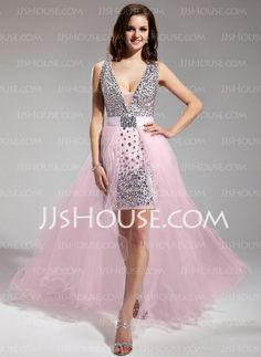 Prom Dresses - $176.99 - Sheath V-neck Asymmetrical Chiffon Tulle Prom Dress With Beading (018018996) http://jjshouse.com/Sheath-V-Neck-Asymmetrical-Chiffon-Tulle-Prom-Dress-With-Beading-018018996-g18996