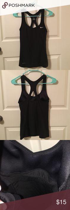 Dry-Fit Nike tank top Black dry-fit Nike workout tank w/built in sports bra. New worn! Nike Tops Tank Tops