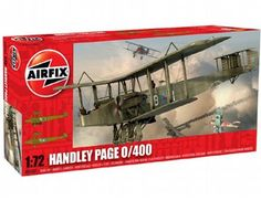The Airfix Handley Page 0/400 in 1/72 scale from the plastic aircraft model range accurately recreates the real life British biplane heavy bomber flown during World War I. This plastic aircraft kit requires paint and glue to complete.
