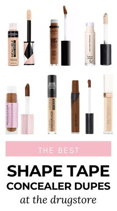 Looking for a concealer that covers everything? I've been on the hunt for the best full coverage concealers from drugstore & today I'm sharing the best of the best - including the best Tarte Shape Tape concealer dupes! Full Coverage Drugstore Concealer, Shape Tape Concealer Dupe, Tarte Shape Tape Dupe, Best Drugstore Makeup, Best Concealer, Ashley Brooke, Cama Full, Summer Beauty Tips, Beauty Dupes