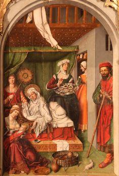 """Birth of the Virgin Mary.  Retablo found in the """"Iglesia de Santa María la Mayor found in Trujillo."""