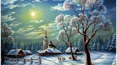 Winter village trees landscape