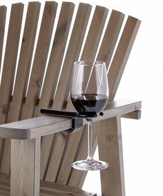 Wine glass cup holder for an outdoor folding camp bag chair. The Wine Hook. Patio Chairs, Outdoor Chairs, Bag Chairs, Adirondack Chairs, Wine Gadgets, Wine Lovers, Wine Glass Holder, In Vino Veritas, Wine Time