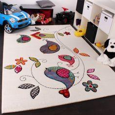 Kinder Teppich Vogel Design Creme Blau Orange Grün, Grösse:120x170 cm: Amazon.de: Küche & Haushalt