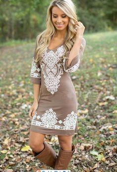 Womens Elegant~V~ Neck Embroidered Summer Dress