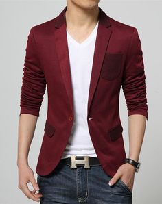2017 New Korean Fashion Slim fit Red Blazer for Men cotton coat suit jacket Male casual clothing on sale unique blazer masculino Blazers For Men Casual, Blazer For Boys, Casual Blazer, Blazer Outfits Men, Mens Fashion Blazer, Casual Outfits, Men Blazer, Looks Adidas, Mode Man