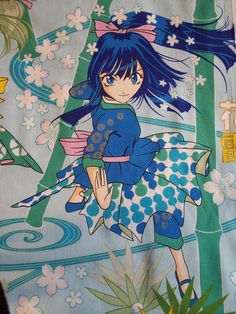 anime samurai girls cotton fabric 1yd by tutela on Etsy, $6.00