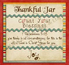 Thankful Jar Blessing Jar Mason Jar by KellysCreativeOutlet