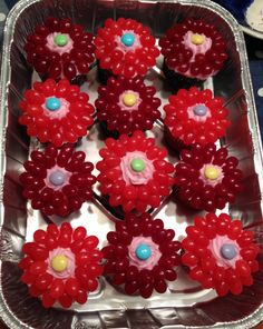 Watermelon Cupcakes with Jellybean Flowers!
