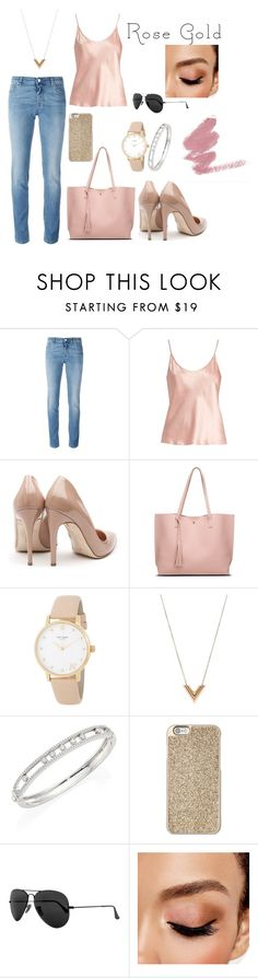 """""""Rose Gold: Casual time"""" by liily-95 on Polyvore featuring moda, Givenchy, La Perla, Rupert Sanderson, Kate Spade, Louis Vuitton, Messika, Michael Kors, Ray-Ban y Avon"""