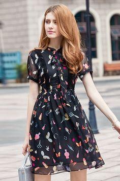 Playful Print Bow Chiffon Dress