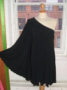 Baylis & Knight STUDIO 54 Batwing 70's Disco Glam One Shoulder Bat Wing Dress Black Elegant (Smock). £32.00, via Etsy.