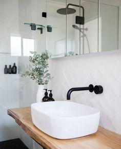 "Black and White Projects on Instagram: ""Can't get enought of this bathroom 🙌 Black + White + Timber 🖤 . . . #perefectcombo #bathroom #bathroomreno @reecebathroom…"""