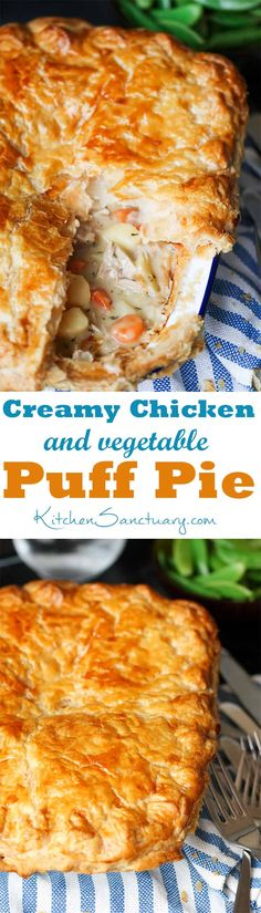 Creamy Chicken pot pie with puff pastry and vegetables - comfort food bliss! #ComfortFood #Pie #chickenpie #potpie #chickenpotpie #puffpastry #puffpastrypie
