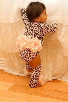 Leopard print onsie and ruffles