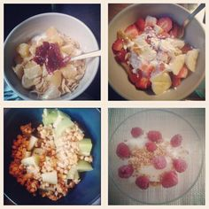 Musli with orange, orange juice and strawberry jam Bananas & strawberries with yoghurt Banana cereals with kiwi Vanilla ice cream with mashed nuts and frozen raspberries  Delicious !!