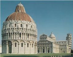 [Unknown, Piazza del Duomo, ca. 1063, Romanesque Europe, Pisa, Italy] The complex consists of four major religious structures: a cathedral, baptistery, a campanile (bell tower) and the Camposanto (cemetery). It was recognised as one of the main centers for medieval art in the world. The cathedral is a freestanding bell tower and a baptistery is where infants and converts were initiated into the Christian community. (Kleiner 450-451)