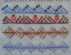 Buttonhole Stitch work on slanted position adding beads makes an awesome results. I have to try it.