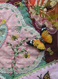 The theme of Bees, Butterflies and Beetles was so popular, that a second group of stitchers formed another round robin so they could play, t...