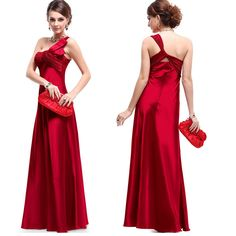 Elegant One Shoulder Floor Length Taffeta Red Prom/Evening Dress with Bow - Thumbnail 1