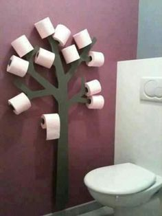 Toilet paper tree for kids bathroom. Lol they'd have the bathroom looking like it was Halloween all year I can picture toilet paper streamers everywhere! Toilet Paper Trees, Toilet Paper Holder Tree, Toilet Paper Humor, Toilet Paper Dispenser, Toilet Paper Storage, Deco Originale, Home Projects, Wooden Projects, Home Improvement