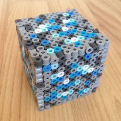 Minecraft Inspired Diamond Ore 3D Perler Beads Block