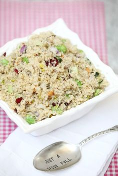 Brining this salad to our next potluck.  Looks fantastic! Quinoa Salad with Edamame, Broccoli Sprouts and Smoked Almonds Low Calorie Low Fat Healthy Side Dish