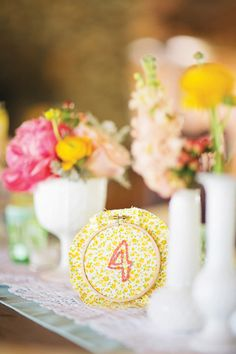 sweet embroidered table numbers | Gracie Blue #wedding