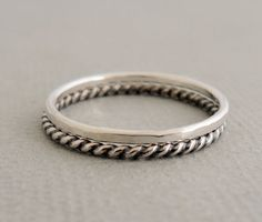 Sterling Silver Rings Stacking Ring Set oxidized by bluebirdss