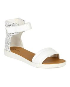 Qupid BK51 New Women Texture Leatherette Dotted Ankle Strap Open Toe Platform Flat Sandal  White Size 85 * Read more reviews of the product by visiting the link on the image.