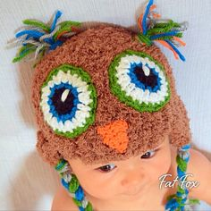 Crochet Owl Baby Winter Hat Warm Cap Halloween by FatFoxDesigns