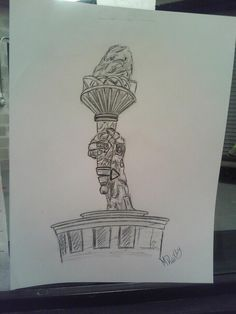 Quick sketch of the liberty torch inside the Please Touch Museum in Philadelphia.