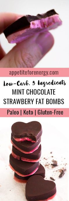 These are the BEST Low-Carb Mint Chocolate Strawberry Fat Bombs! They are dairy free, nut free and gluten-free with 1g of net carbs - only 5 ingredients & a microwave needed!! FOLLOW us for more 30 Minute Recipes. PIN & CLICK through to get the recipes!  Low-carb diet fat bombs  ketogenic diet snacks  keto diet candy recipes  keto fat bombs  gluten free fat bomb recipes  #easyfatbombrecipes #Ketofatbomb #LowCarbChocolateRecipes #KetogenicFatBombs #ChocolateFatBombs via @appetitefornrg