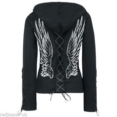 Lace up winged hoodie