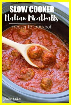 Slow Cooker Italian Meatballs with marinara sauce that can be frozen and then cooked in your crock pot! A quick and easy dinner for families! Make these meatballs with ground beef or turkey, bake and Slow Cooker Frozen Meatballs, Frozen Turkey Meatballs, How To Cook Meatballs, Crock Pot Meatballs, Slow Cooker Italian Meatballs, Crockpot Spaghetti And Meatballs, Meatballs In Marinara Sauce Recipe, Homemade Meatballs Crockpot, Meatball Marinara