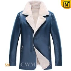 CWMALLS Mens Blue Shearling Blazer Jackets CW857050 Blue shearling leather blazer for men, made with the superior imported sheepskin leather with finest lamb fur inside, features in button closure with zipper, side zip pockets, this blue shearling blazer is a great combination of warmth and style, perfect for winter. www.cwmalls.com PayPal Available (Price: $1487.89) Email:sales@cwmalls.com