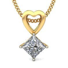 Designer 925 Sterling Silver 1.ctw Princess-Cut Diamond Solitaire Pendant 18K Yellow Gold Plated Heart Solitaire Designer Pendant by FinejewelleryDesign on Etsy
