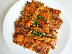 Kimchi pancake (김치전) recipe.