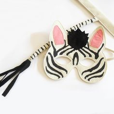 Kid' Zebra mask and tail for Halloween or Carnival or just for fun!