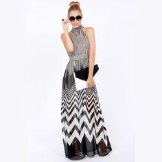 nova moda onda 2014 listrado vestido longo casuais cabresto verão chiffon mangas maxi dress vestido de praia ld0623 frete grátis