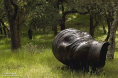 """Diane Sangster originally shared this post:  Runnymede Sculpture Farm - Woodside, CA  Located on 120 acres of meadow, forest, hills and valleys, more than 150 sculptures decorate the landscape. Shown here is """"Tete Endormie,"""" a large bronze """"sleeping head"""" by Polish sculptor Igor Mitoraj. The sculpture lies on its right cheek, with horizontal lines dramatically catching the light. Runnymede is open to the public a few times a year. Photo by Bob Stronck."""