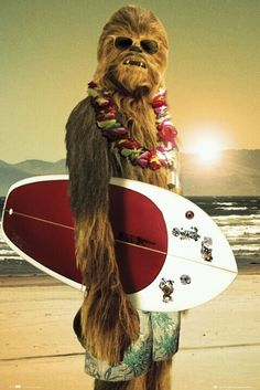 Hang Loose with this gnarly poster of Star Wars Wookie Chewbacca on vacation in Hawaii - Surf's Up! Be a good Jedi and check out the rest of our amazing selection of Star Wars posters! Need Poster Mounts. Pulp Fiction, Star Wars Meme, Star Wars Quotes, Star Trek, Star Wars Poster, Star Wars Party, Star Wars Chewbacca, Chewbacca Costume, Decoracion Star Wars