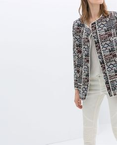 patterned coat with piping