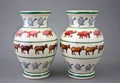 Vases with Farmyard design