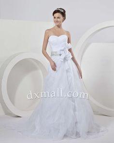 A-line Wedding Dresses Sweetheart Court Train Organza Satin White 01001010038