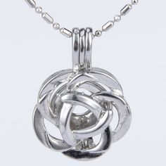 5pcs! Silver Rose Bloom Cage Pendant for Akoya Pearl - Necklaces & Pendants