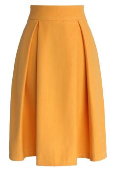 Full A-line Suede Skirt in Yellow at Chicwish